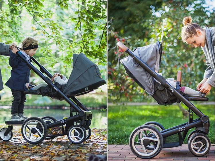 siedzisko wózka spacerowego Igo pokazane w 2 możliwościach ustawienia, przodem do kierunku jazdy oraz przodem do rodzica